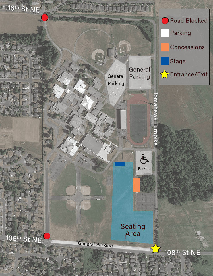 Parking Map for Marysville Pilchuck High School for the 4th of July event