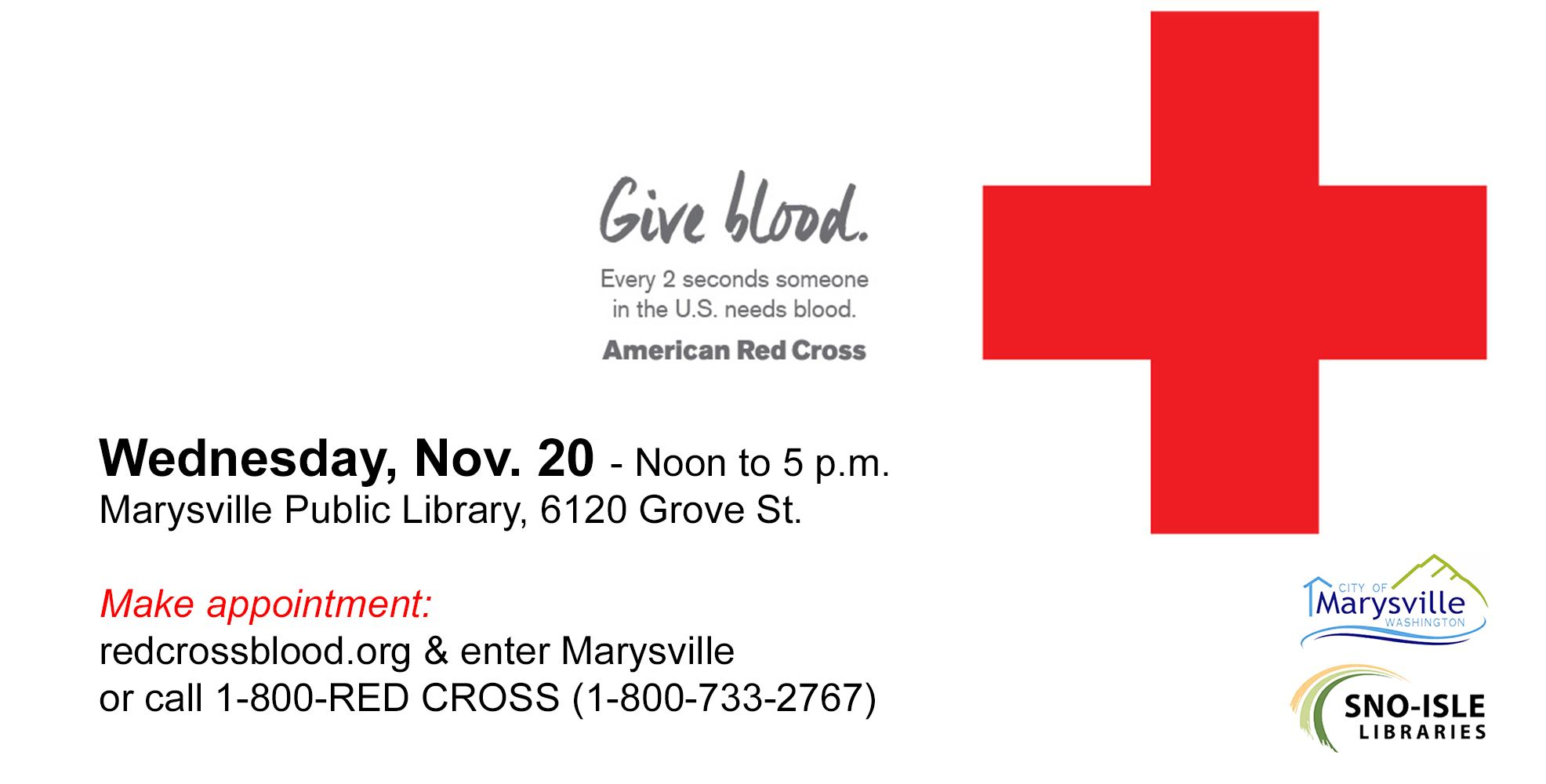 Blood Drive November 20 at Marysville Library