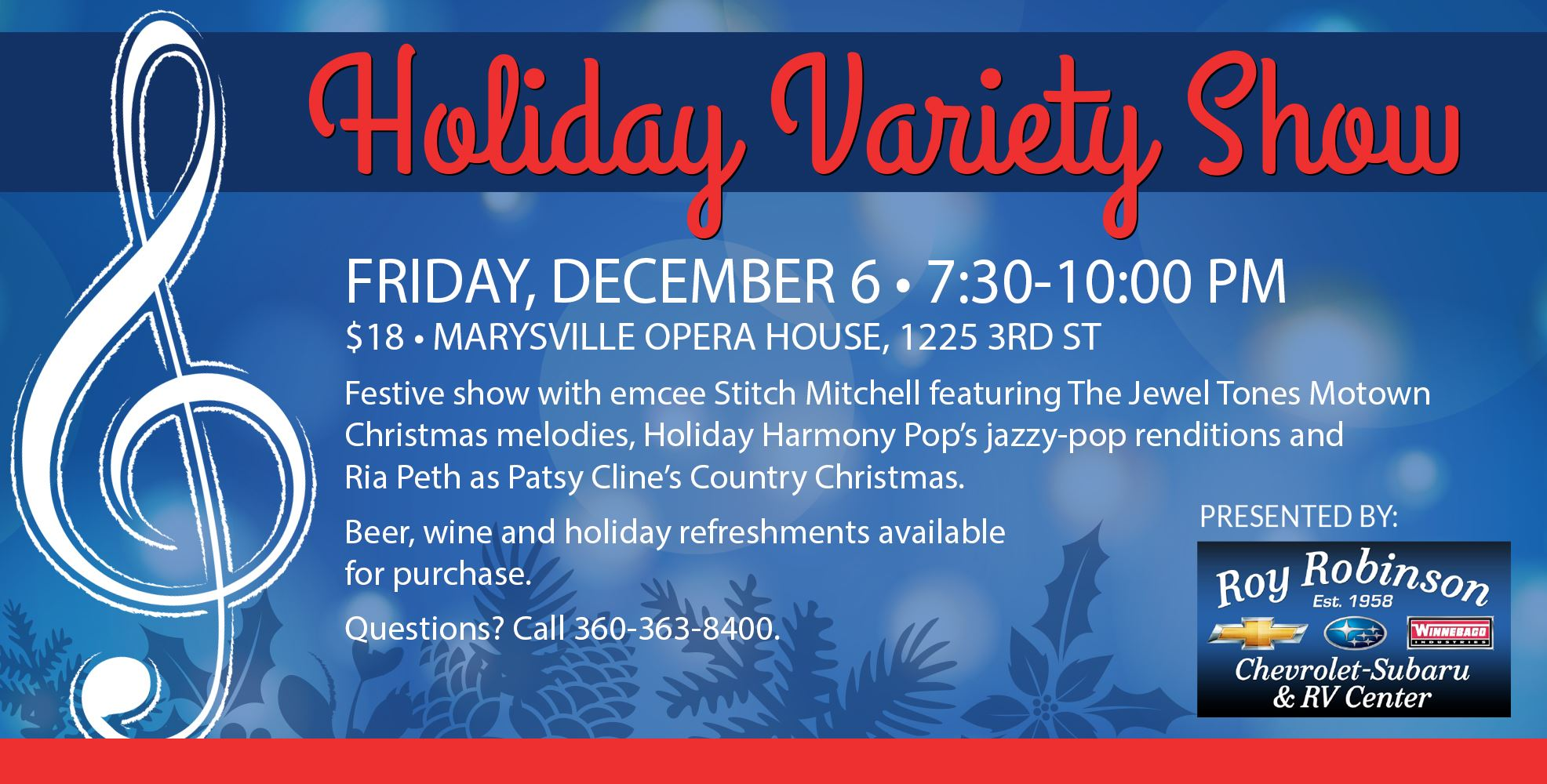 Holiday Variety Show on Friday, December 6 at the Marysville Opera House