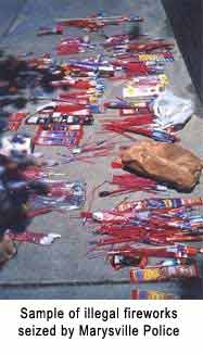 Sample of illegal fireworks seized by Marysville Police